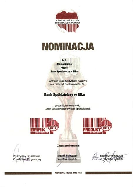 Godło Liderów Bankowości Spółdzielczej - Nominacja 2013